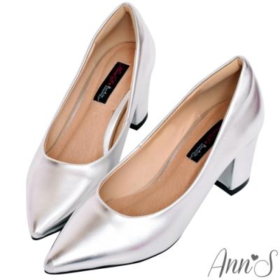 Ann'S加上優雅高跟版-復古皮革沙發後跟尖頭鞋-銀