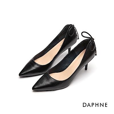 達芙妮DAPHNE 高跟鞋-質感羊皮蝴蝶結綁帶高跟鞋-黑