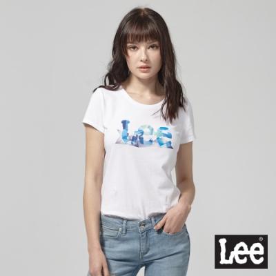 Lee短袖T恤 月光石水晶logo 白 女