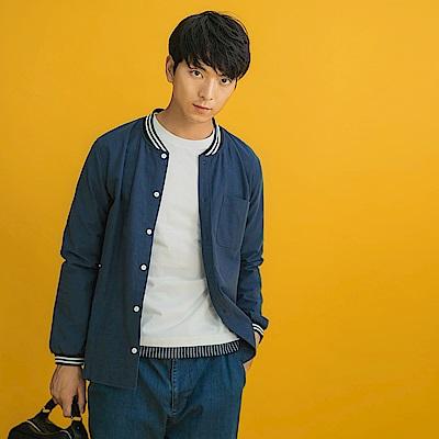 高含棉條紋羅紋拼接棒球外套式排釦襯衫-OB大尺碼