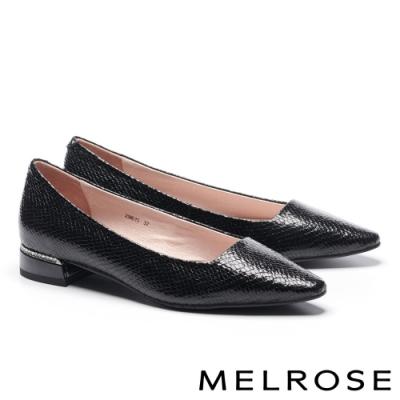 低跟鞋 MELROSE 時髦蛇紋皮革鑽飾低跟鞋-黑