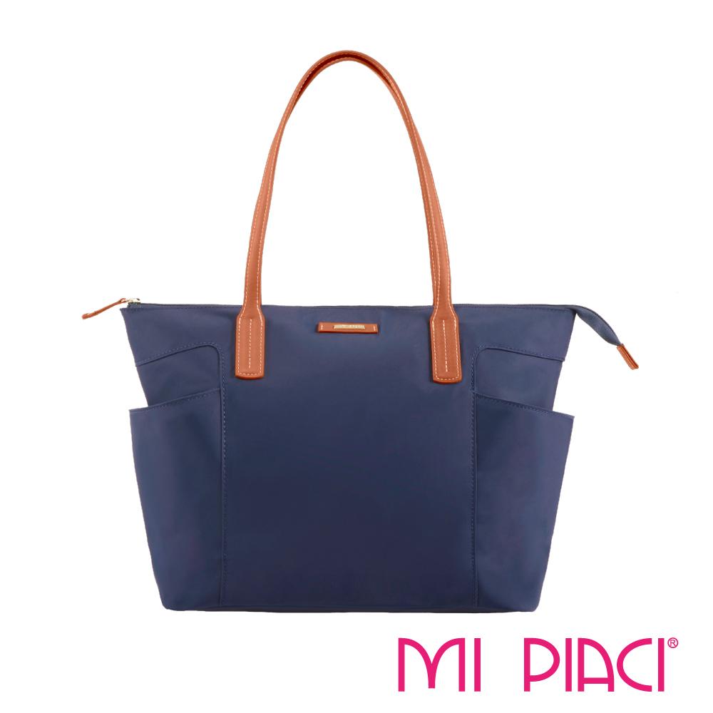 MI PIACI革物心語-雙口袋系列托特包-藍色 1281719