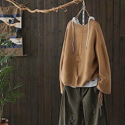 蝴蝶繫帶螺紋毛衣寬鬆針織上衣-Y4753-設計所在