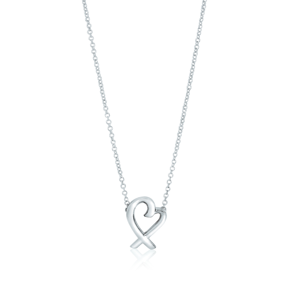 Tiffany&Co. Paloma Picasso 經典鏤空愛心雙邊接鍊純銀項鍊(小)
