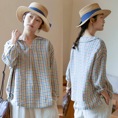 日本色織彩格子亞麻上衣寬鬆襯衫文藝-設計所在