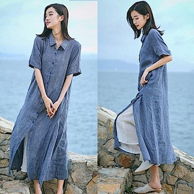 洋裝-高端色織亞麻長版襯衫裙/設計所在/Q8769