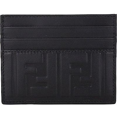 FENDI FF 浮雕小牛皮萬用卡片夾(黑色)