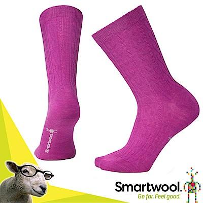 美國 SmartWool 美麗諾羊毛 女 輕薄戶外麻花紋中長襪(2入)_粉霧紫