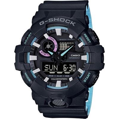 G-SHOCK 派對主題色彩雙顯腕錶-霓虹藍(GA-700PC-1A)/53mm