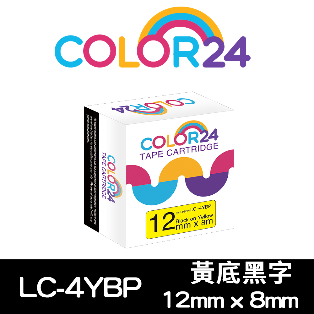 Color24 for Epson LC-4YBP 黃底黑字相容標籤帶(寬度12mm)