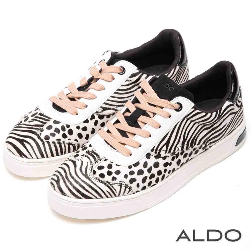 ALDO 真皮拼接動物紋綁帶式個性厚底休閒鞋~斑馬條紋