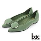 【bac】復古風潮尖頭特殊閃色大圈鑽裝飾平底鞋-綠