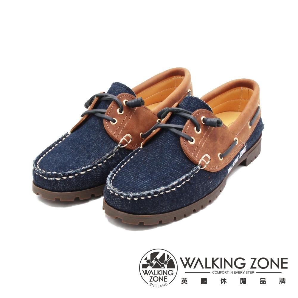 WALKING ZONE (女)牛仔款 帆船雷根鞋 女鞋-牛仔藍