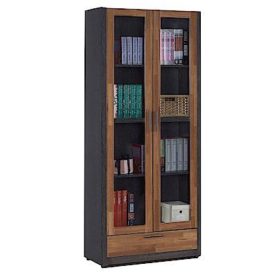 文創集 多柏斯時尚2.7尺木紋二門書櫃/收納櫃-80x39x190cm免組
