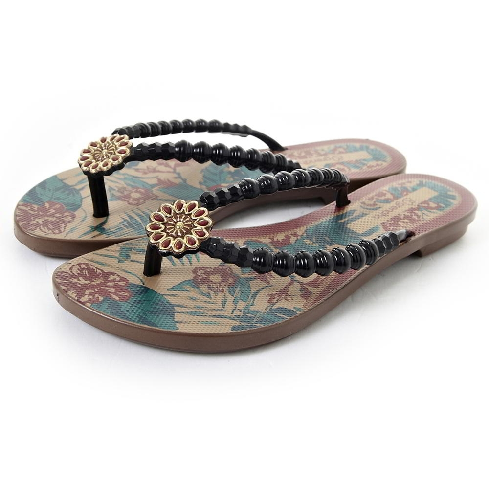 Grendha 可愛串珠人字帶夾腳鞋-黑色