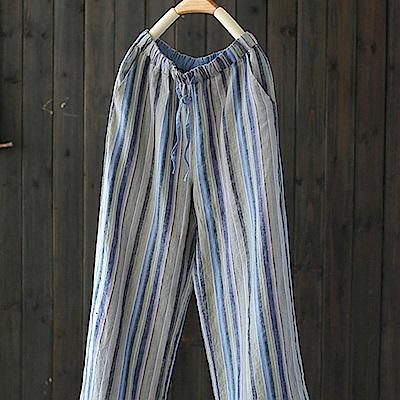 色織亞麻條紋休閒寬鬆哈倫九分褲-設計所在