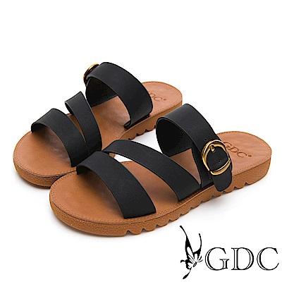 GDC-超Q軟舒適春夏必備一字扣帶拖鞋-黑色