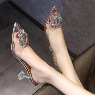 KEITH-WILL時尚鞋館時尚潮流金屬透明水鑽涼跟鞋