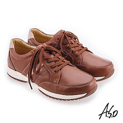 A.S.O 3D超動能 雙皮革配色休閒鞋 咖啡