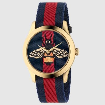 GUCCI 古馳 G-Timeless (YA1264061)蜜蜂刺繡藍紅帆布款x金x38mm