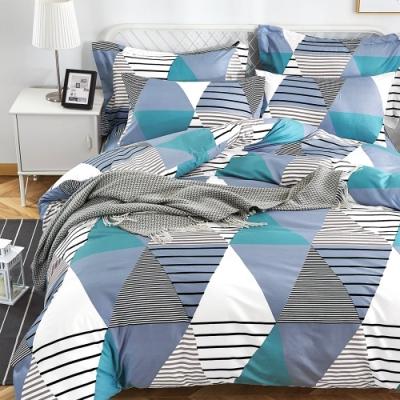 Grace Life 雙人 親膚棉感活性印染枕套床包三件組-零度空間