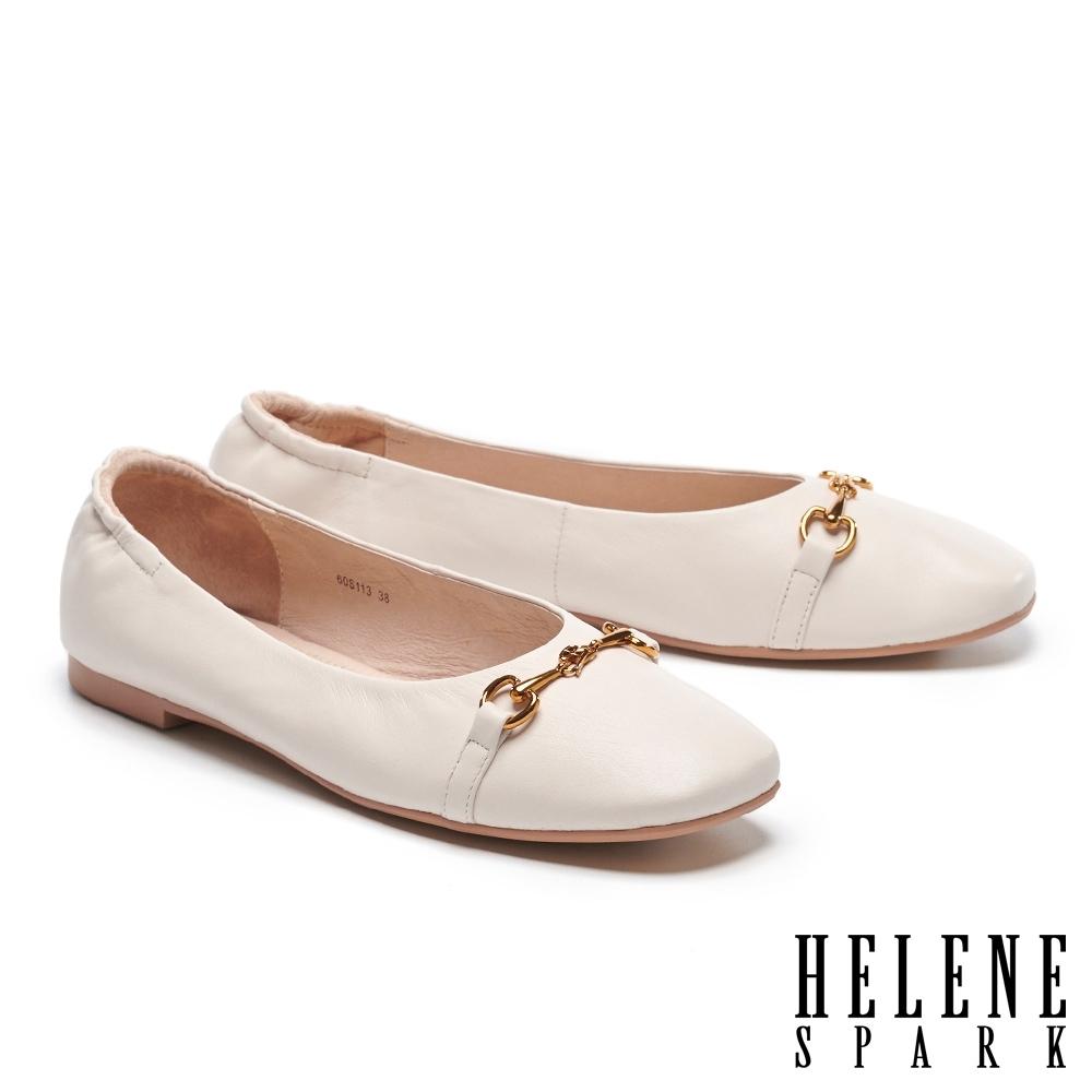 平底鞋 HELENE SPARK 舒適質感馬銜釦全真皮方頭平底鞋-白