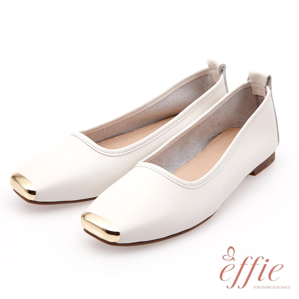 effie 艾菲小花園-經典百搭素色平底鞋(網獨款)-米