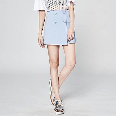 SUITANGTANG 雙排釦短裙-淺藍