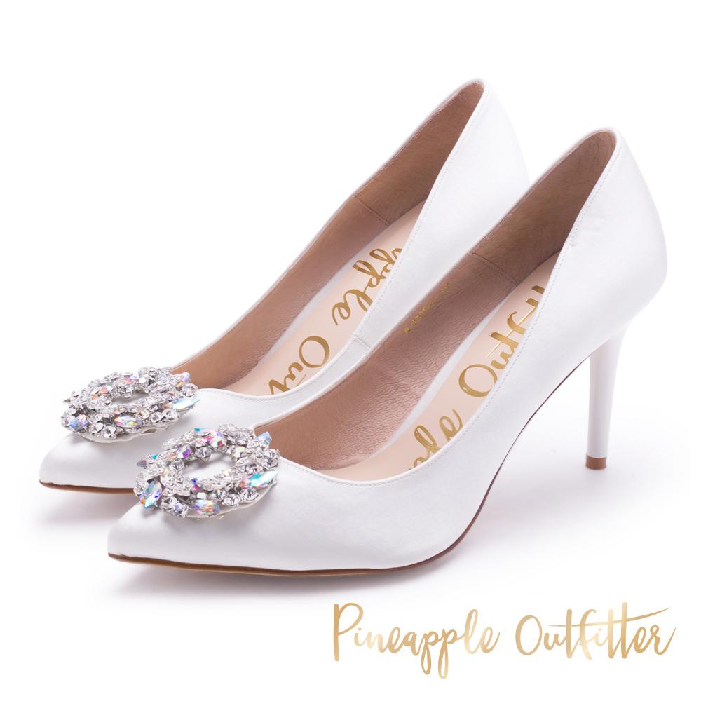 Pineapple Outfitter 優雅名媛 緞面水鑽高跟鞋-白色