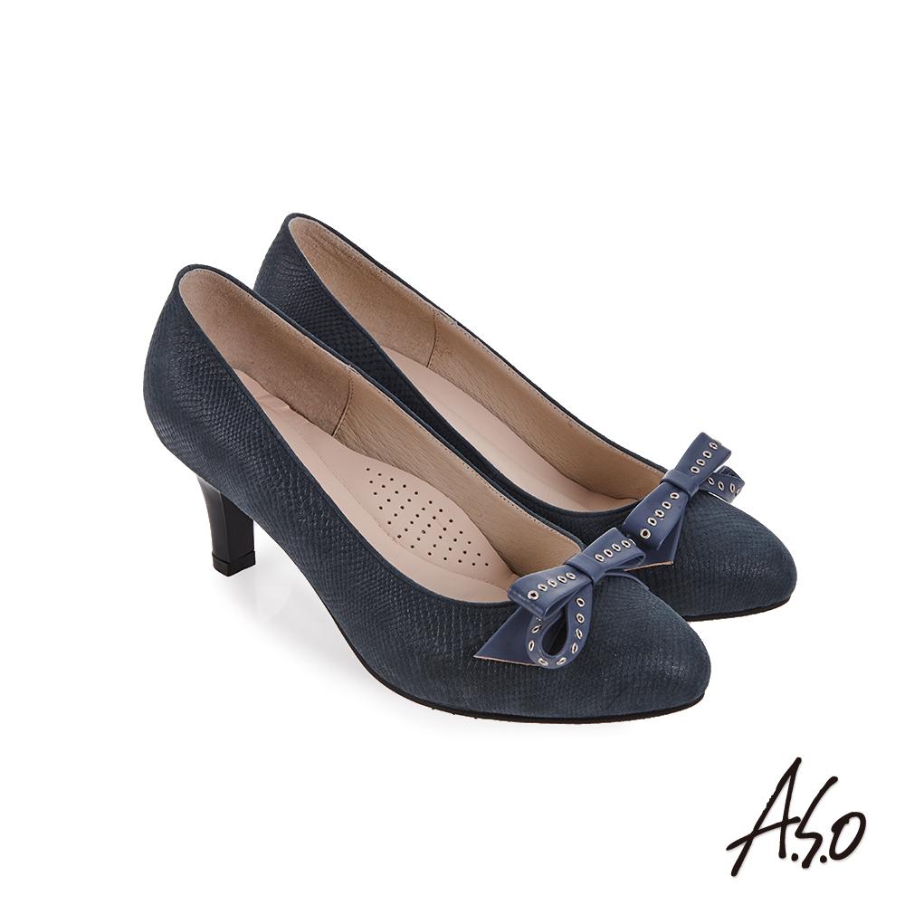 A.S.O 義式簡約 蝴蝶結飾釦高跟鞋 藍