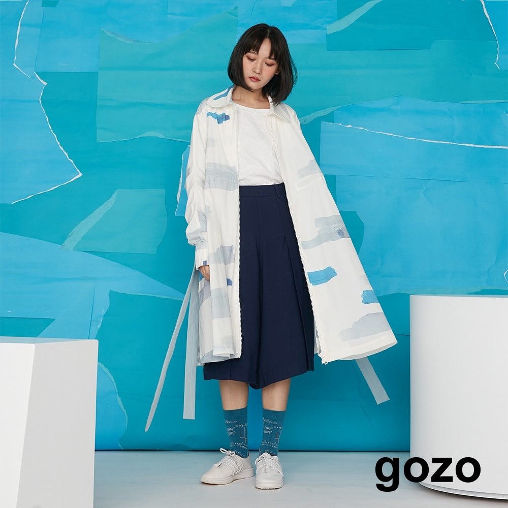 gozo-水彩塗鴉長外套-白色