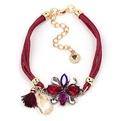 RJ New York水晶鑽花炫麗個性皮繩手鍊 5色可選