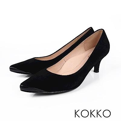KOKKO - 生活在他方素面拼接尖頭中跟鞋-低調黑