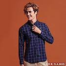 GIORDANO 男裝經典刺繡彈力牛津紡長袖襯衫-70 海軍藍X白色格子