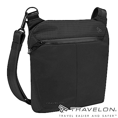Travelon美國防盜包 抗水輕量休閒旅遊防割鋼網多層小斜背包TL-43126黑18