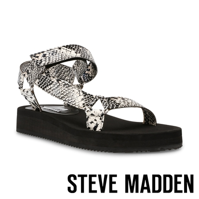 STEVE MADDEN-HENLEY 戶外款交叉魔鬼氈厚底涼鞋-蛇皮白
