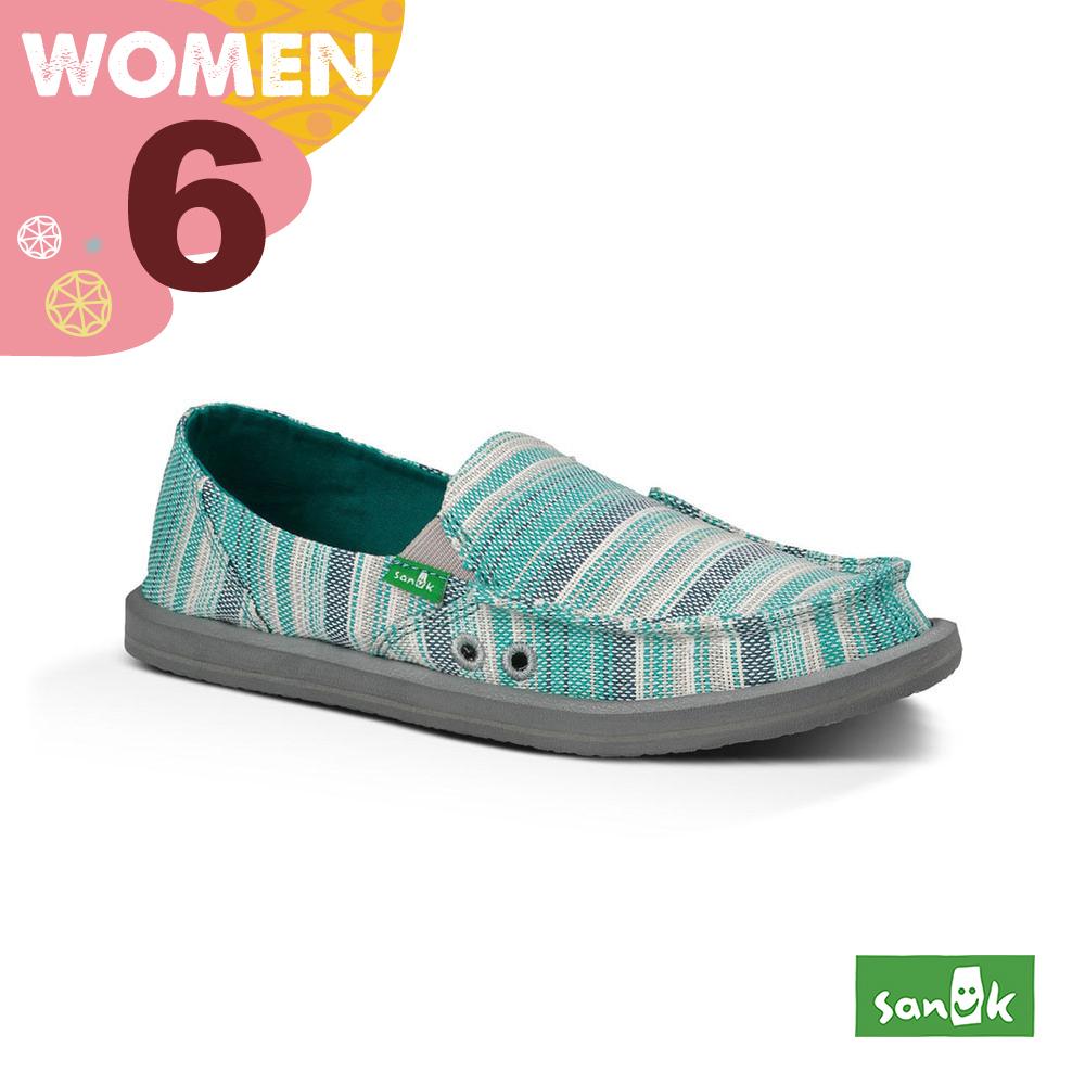 SANUK 女款US6 編織條紋懶人鞋(蒂芬尼藍)
