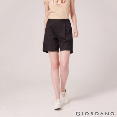 GIORDANO 女裝A字型打折休閒短褲-09 標誌黑