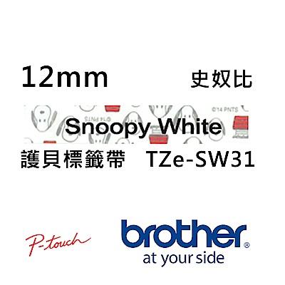 Brother TZe-SW31 史奴比 護貝標籤帶 ( 12mm 白底黑字 )