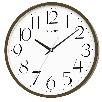 RHYTHM 日本麗聲 靜音 滑動式秒針 木質掛鐘(CMG133NR06)咖啡-32cm