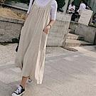 La Belleza素面兩釦水洗棉麻超寬版連身吊帶闊腿寬褲