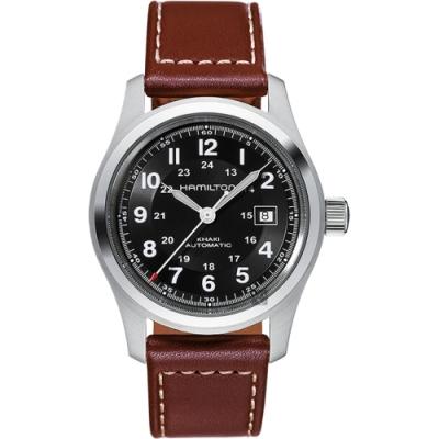 Hamilton漢米爾頓 KHAKI 卡其野戰機械錶-黑x咖啡/42mm