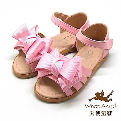 天使童鞋 優雅大蝴蝶結涼鞋(中-大童)D945-粉