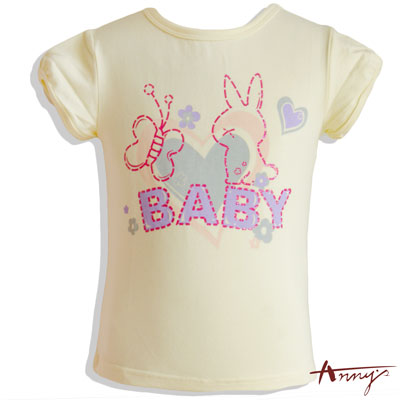 兔子與蝴蝶印花休閒短袖上衣*2357黃