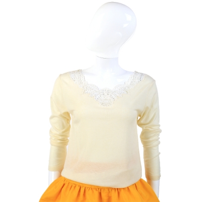 Pierre Cardin 蕾絲領織花奶油色長袖針織羊毛衫