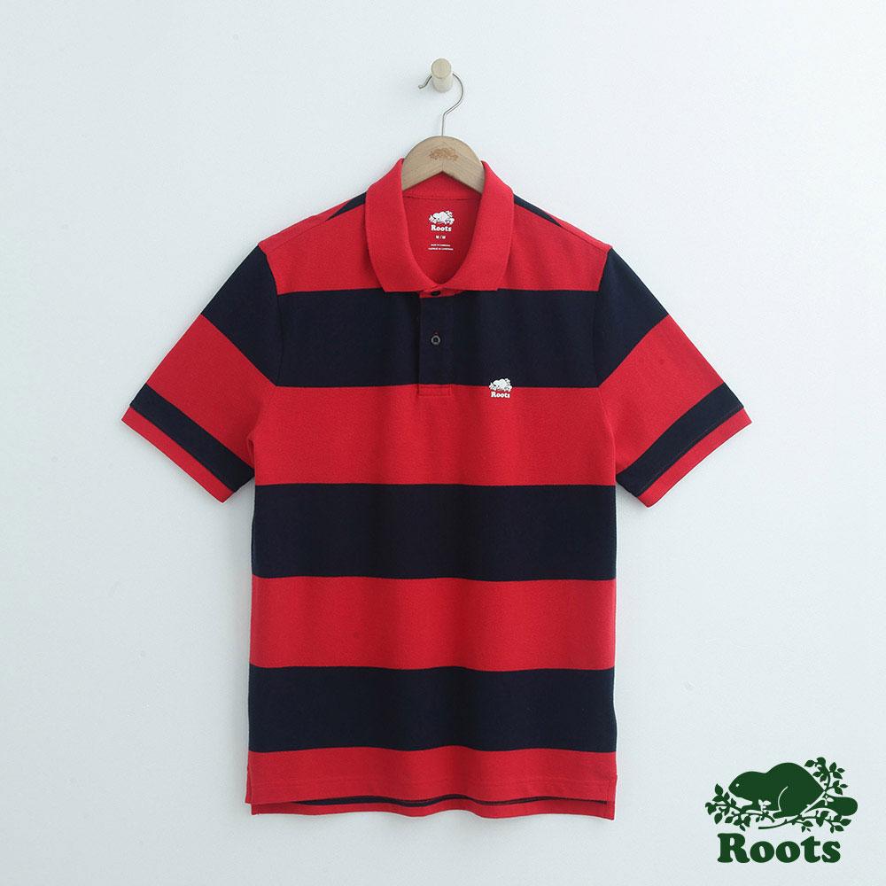 男裝Roots 條紋短袖POLO衫-紅