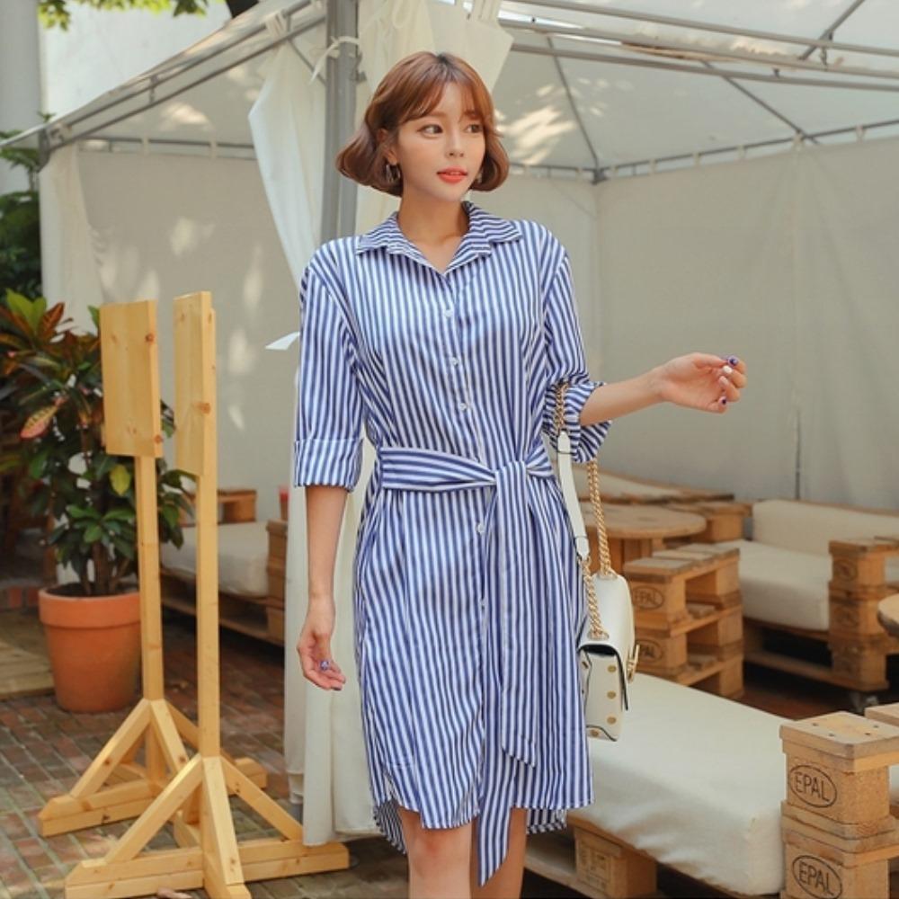 La Belleza藍色條紋排釦腰綁帶袖提釦襯衫洋裝