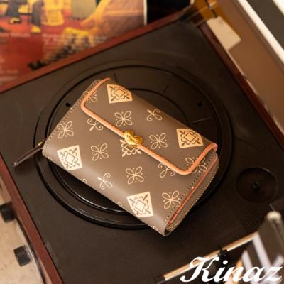 KINAZ 多卡層三折式LOGO中夾-粉橘浪漫調-古典音樂系列