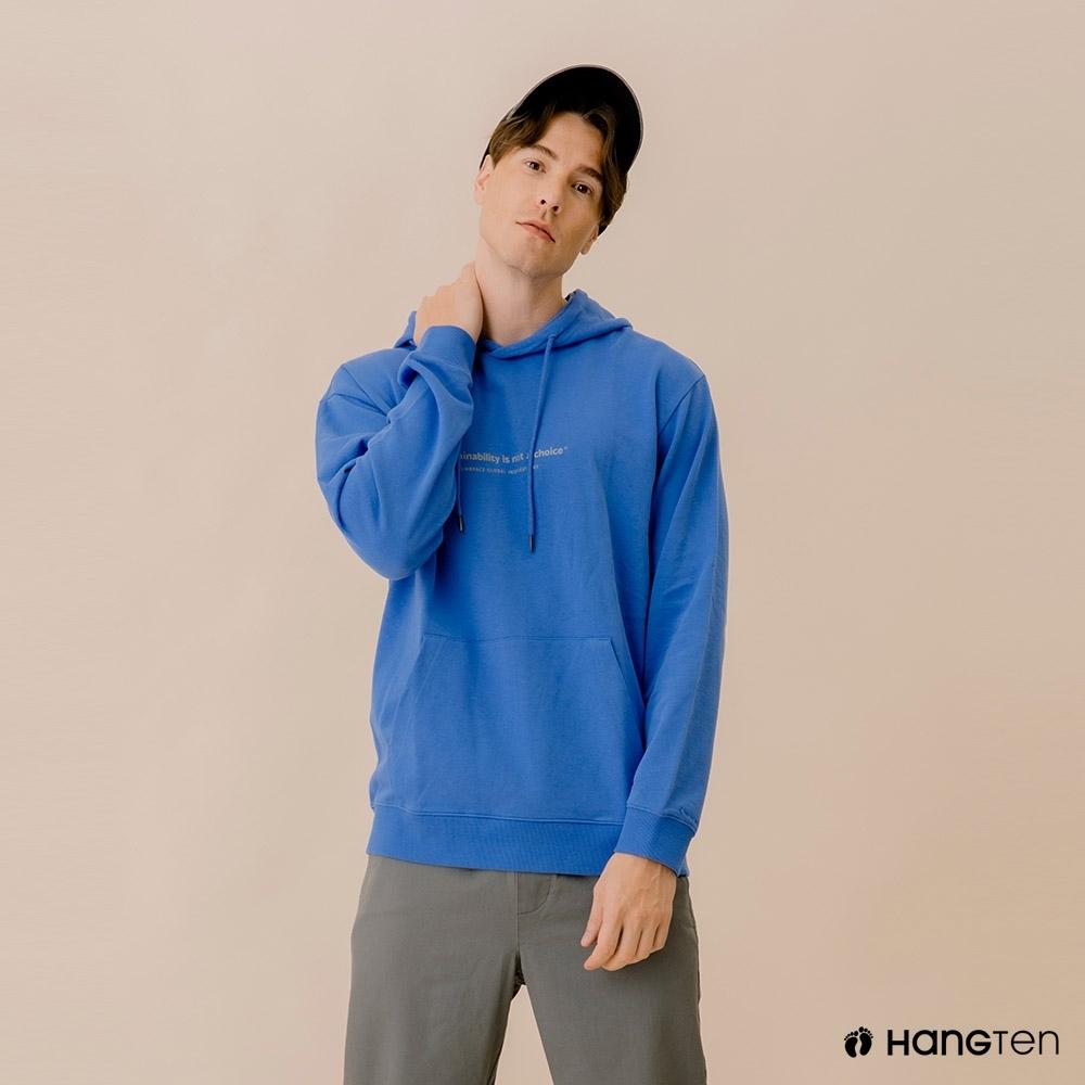 Hang Ten-中性款-ECO有機棉-標語大學T-藍色