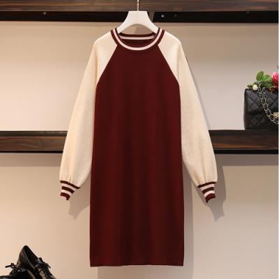 2F韓衣-圓領時尚撞色拼接連身裙-2色(L-3XL)